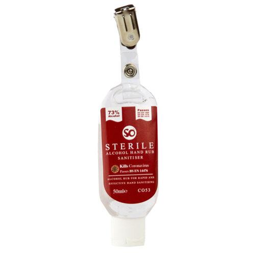 Klips til flaske med steril hånddesinfeksjon.