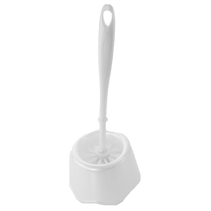 Toalettbørste med holder i hvit farge.